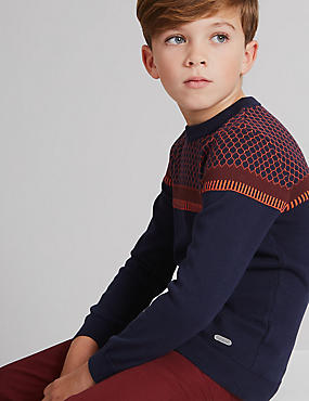 Pure Cotton Jacquard Jumper (3-14 Years)