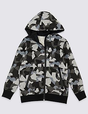 Camouflage Zip Through Top (3-16 Years), MULTI, catlanding