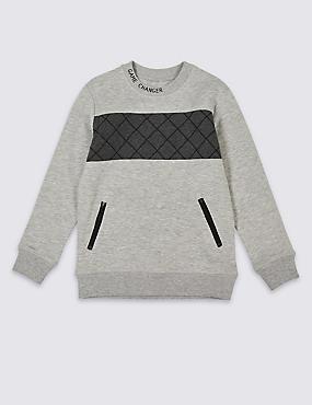 Cotton Rich Sweatshirt (3-16 Years), GREY MIX, catlanding