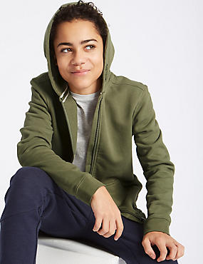 Hooded Zip Through Sweatshirt (3-16 Years), KHAKI, catlanding