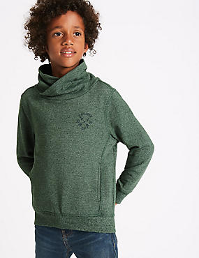 Cotton Rich Cowl Neck Sweatshirt (3-14 Years)