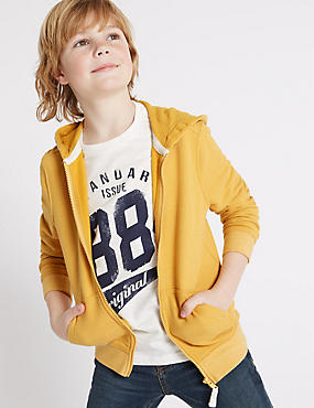 Cotton Rich Long Sleeve Hooded Top (3-14 Years)