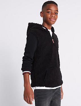 Borg Hooded Top (3-16 Years), BLACK, catlanding
