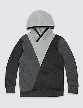 Cotton Rich Cowl Neck Hooded Top (3-14 Years)