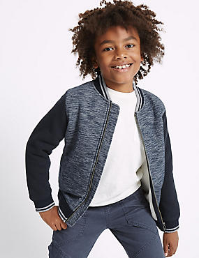 Cotton Blend Zip Through Sweatshirt (3-14 Years)