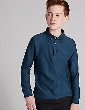 Pure Cotton Polo Shirt (3-16 Years), LIGHT BLUE, catlanding