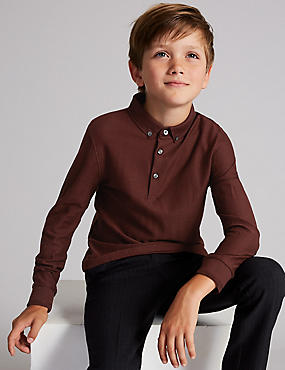 Pure Cotton Polo Shirt (3-16 Years), BURGUNDY, catlanding