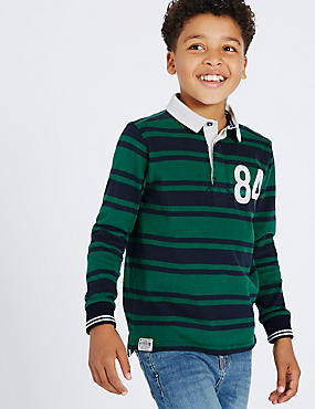 Pure Cotton Striped Rugby Top (3-14 Years)