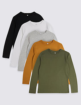 5 Pack Long Sleeve T-Shirts (3-16 Years)