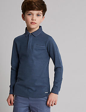 Pure Cotton Polo Shirt (3-16 Years), MID BLUE, catlanding
