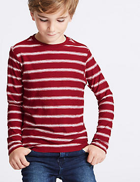Pure Cotton Striped T-Shirt (3-14 Years)