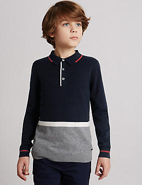 Cotton Blend Polo Shirt (3-14 Years)