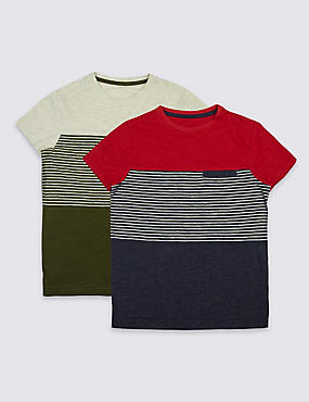 2 Pack Striped Tops (3-14 Years)