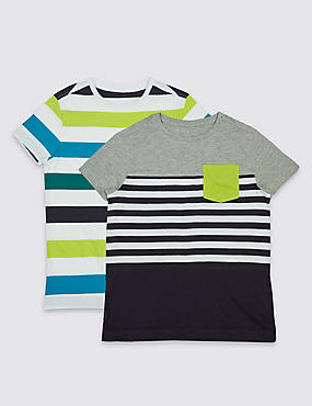 2 Pack Striped T-Shirts (3-14 Years)