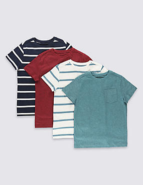 4 Pack Striped Tops (3-14 Years)