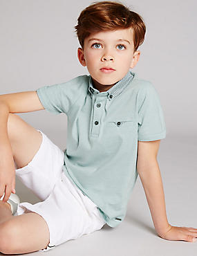 Pure Cotton Short Sleeve Polo Shirt (3-14 Years)