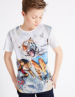 Animal Print Short Sleeve T-Shirt (3-14 Years)