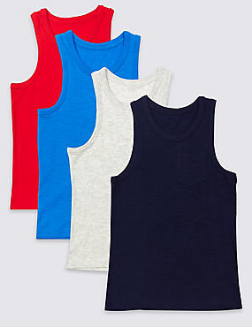 4 Pack Vest Tops (3-14 Years)