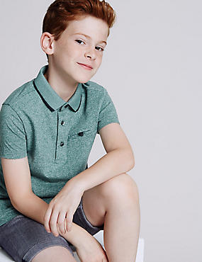 Textured Short Sleeve Polo Shirt (3-14 Years)