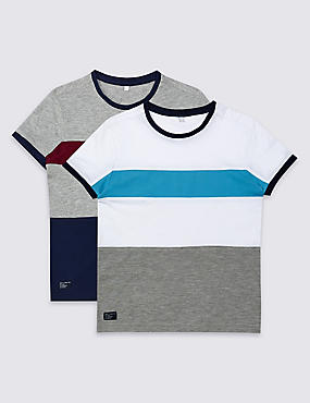 2 Pack Colour Block T-Shirts (3-14 Years)