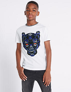 Pure Cotton Graphic T-Shirt (3-16 Years), WHITE MIX, catlanding