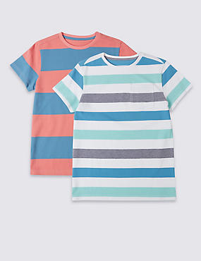 2 Pack Pure Cotton Striped T-Shirt (3-14 Years)