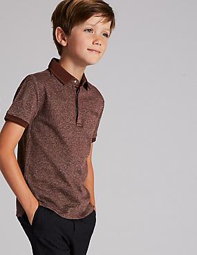 Cotton Rich Polo Shirt (3-16 Years), BURGUNDY, catlanding