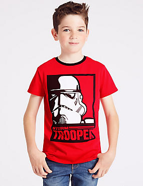 Star Wars™ Pure Cotton T-Shirt (3-16 Years), RED, catlanding