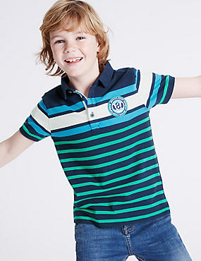 Pure Cotton Striped Polo Shirt (3-14 Years)