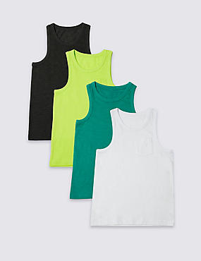 4 Pack Cotton Rich Vest Tops (3-14 Years)