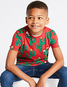 Pure Cotton Cactus T-Shirt (3-16 Years), MULTI, catlanding