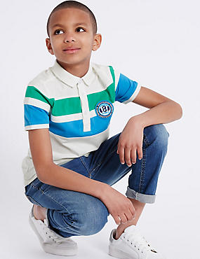 Pure Cotton Colour Block Polo Shirt (3-14 Years)