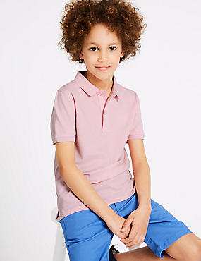 Pure Cotton Polo Shirt (3-16 Years), PINK, catlanding