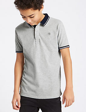 Cotton Rich Jersey Polo Shirt (3-16 Years), GREY, catlanding