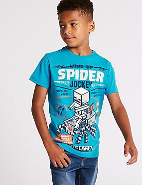 Pure Cotton Minecraft™ T-Shirt (3-16 Years), BRIGHT BLUE, catlanding