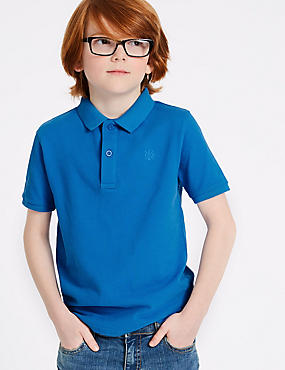 Pure Cotton Polo Shirt (3-16 Years), BRIGHT BLUE, catlanding