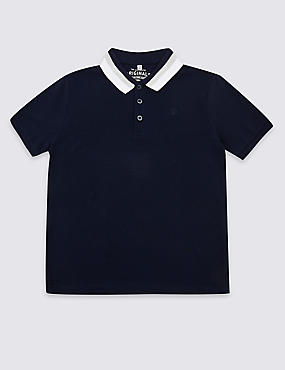 Cotton Rich Polo Shirt (3-16 Years), NAVY, catlanding