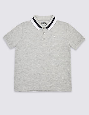 Cotton Rich Polo Shirt (3-16 Years), GREY MARL, catlanding