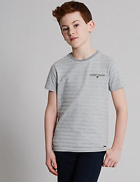 Cotton Rich Textured T-Shirt (3-16 Years), MULTI, catlanding