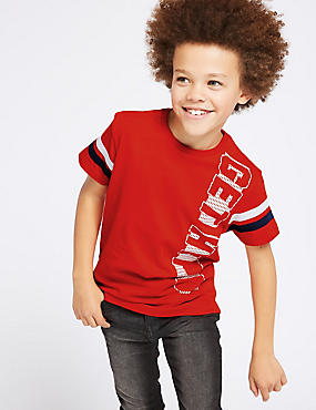 Pure Cotton T-Shirt (3-16 Years), RED, catlanding