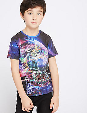Cotton Blend T-Shirt (3-16 Years), MULTI, catlanding