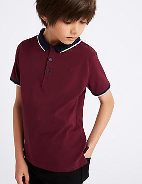 Cotton Polo Shirt with Stretch (3-16 Years), BERRY, catlanding