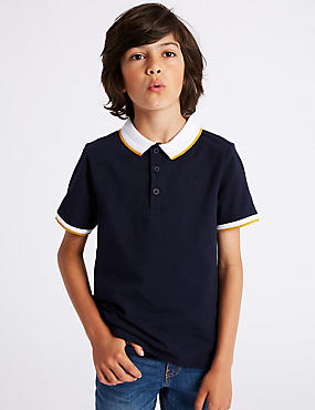 Cotton Polo Shirt with Stretch (3-16 Years), NAVY, catlanding