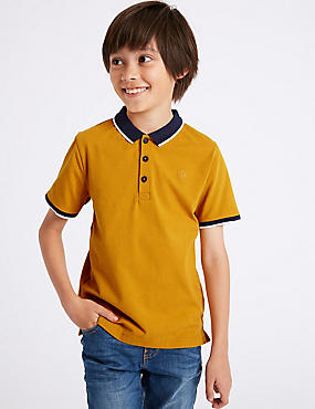 Cotton Polo Shirt with Stretch (3-16 Years), YELLOW, catlanding