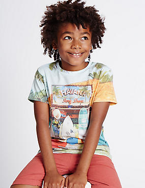 Cotton Blend Printed T-Shirt (3-14 Years)