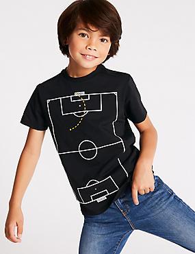 Pure Cotton T- Shirt ((3-16 Years), NAVY, catlanding