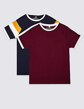 2 Pack Pure Cotton T-Shirts (3-16 Years), MULTI, catlanding