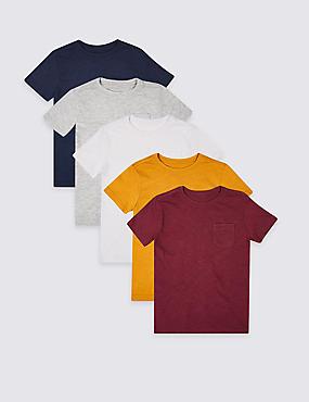5 Pack Short Sleeve T-Shirts (3-16 Years), MULTI, catlanding