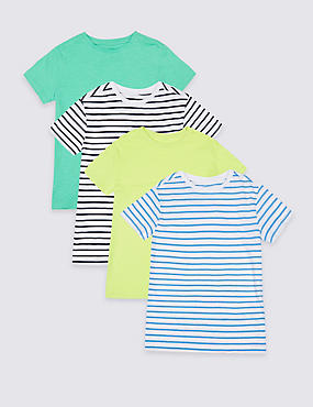 4 Pack Pure Cotton Striped T-Shirts (3-16 Years), MULTI, catlanding