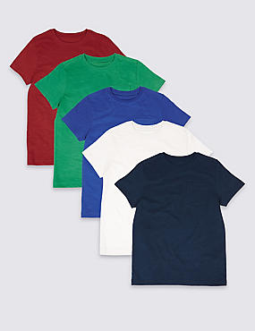 5 Pack Pure Cotton Tops (3-14 Years)